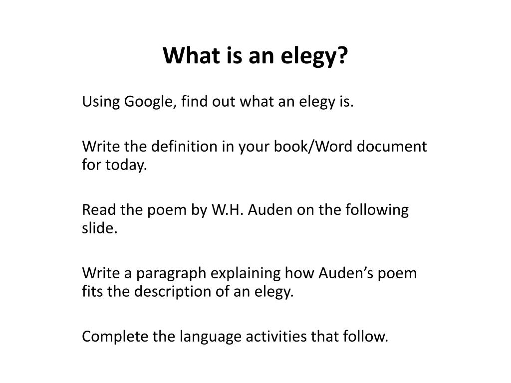 What is elegy