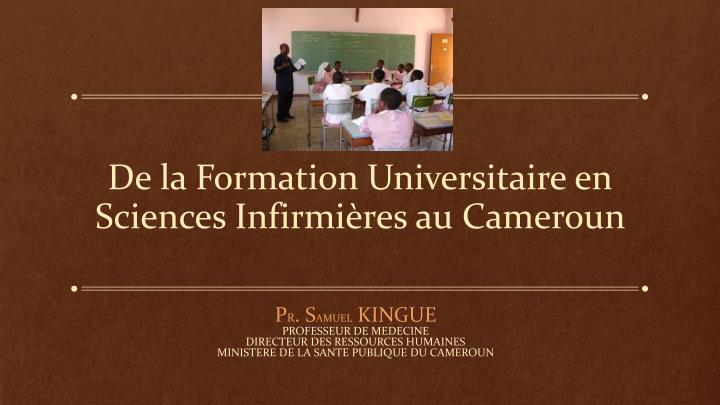 de la formation universitaire en sciences infirmi res au cameroun n.