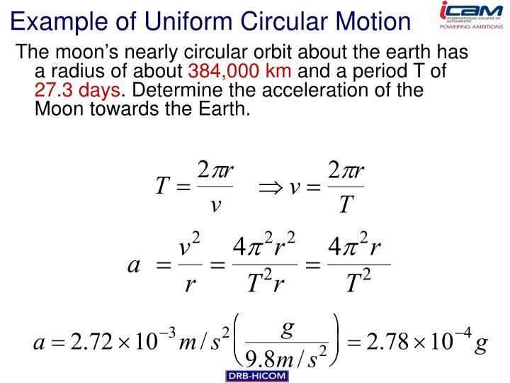 Example of Uniform Circular Motion