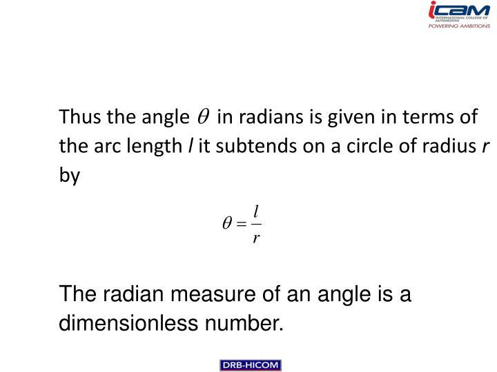 Thus the angle