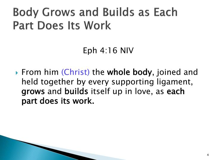 Body Grows and Builds as Each Part Does Its Work