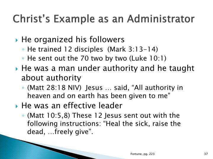 Christ's Example as an Administrator