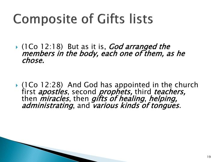Composite of Gifts lists