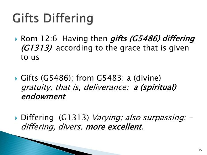 Gifts Differing
