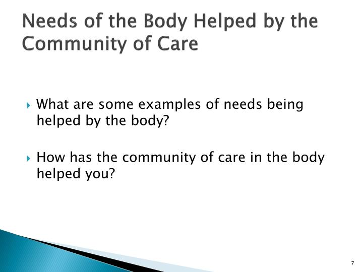 Needs of the Body Helped by the Community of Care