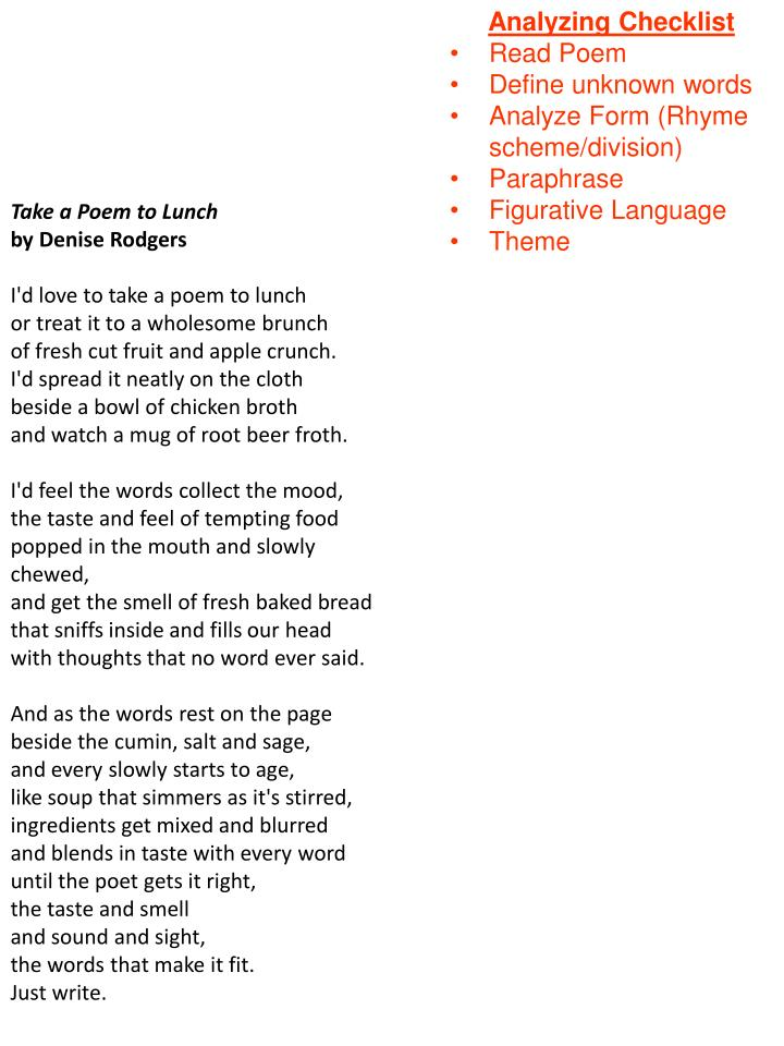 home baked bread poem analysis