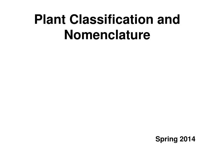 plant classification and nomenclature n.