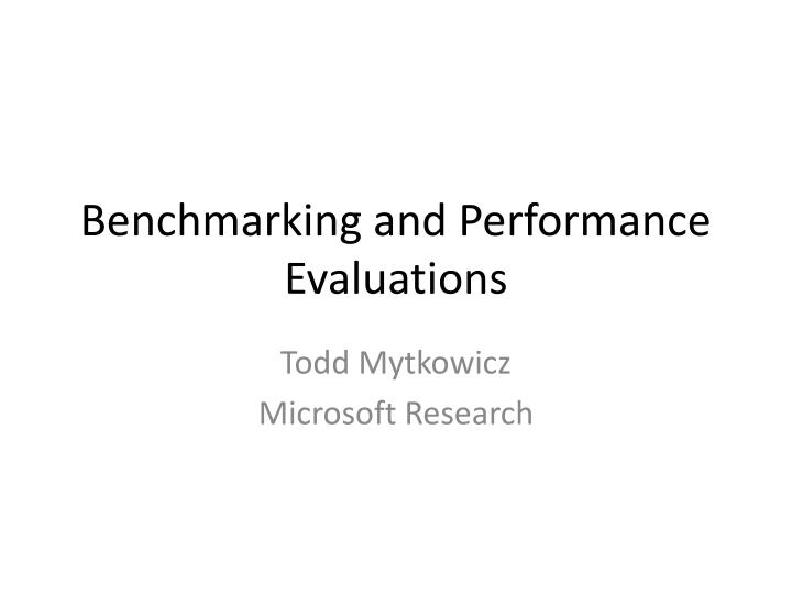 benchmarking and performance evaluations n.
