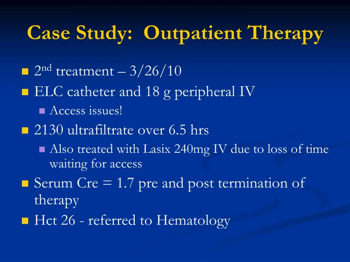 Case Study:  Outpatient Therapy