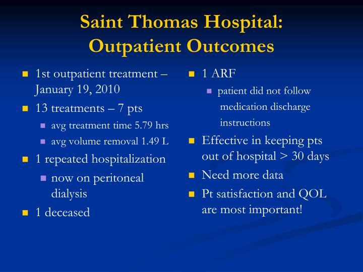 1st outpatient treatment – January 19, 2010