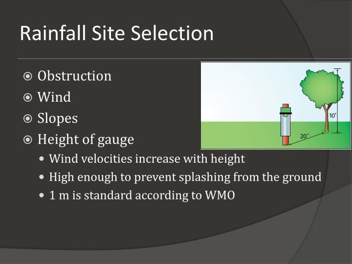 Rainfall Site Selection