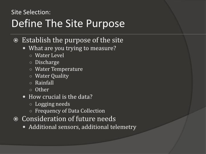 Site Selection: