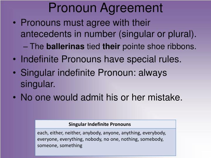 Pronoun a greement