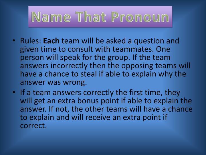 Name That Pronoun