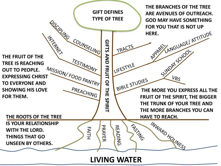 THE BRANCHES OF THE TREE ARE AVENUES OF OUTREACH. GOD MAY HAVE SOMETHING FOR YOU THAT IS NOT UP HERE.