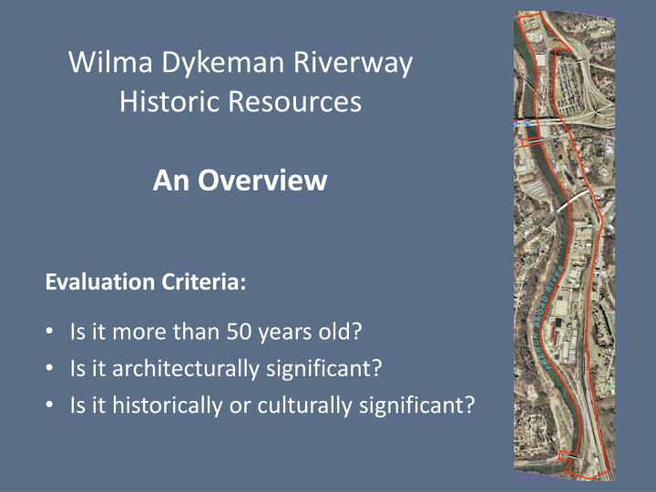 wilma dykeman riverway historic resources an overview n.