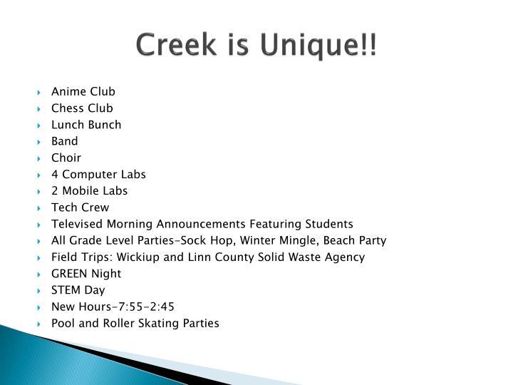 Creek is Unique!!