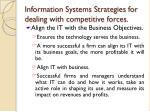 information systems strategies for dealing with competitive forces