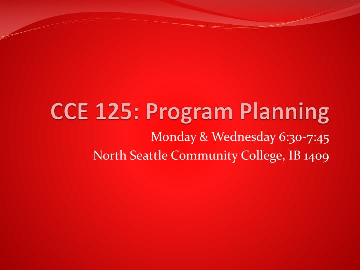 cce 125 program planning n.