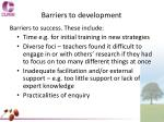 barriers to development
