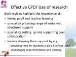 effective cpd use of research