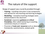 the nature of the support