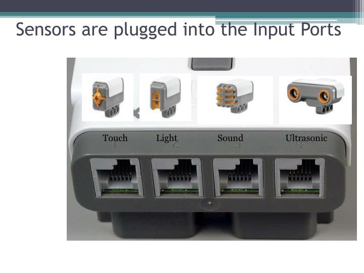 Sensors are plugged into the Input Ports