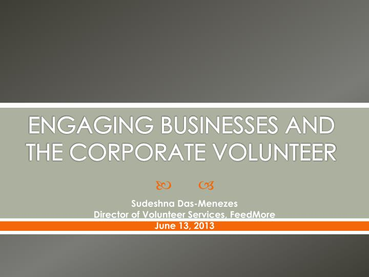 engaging businesses and the corporate volunteer n.