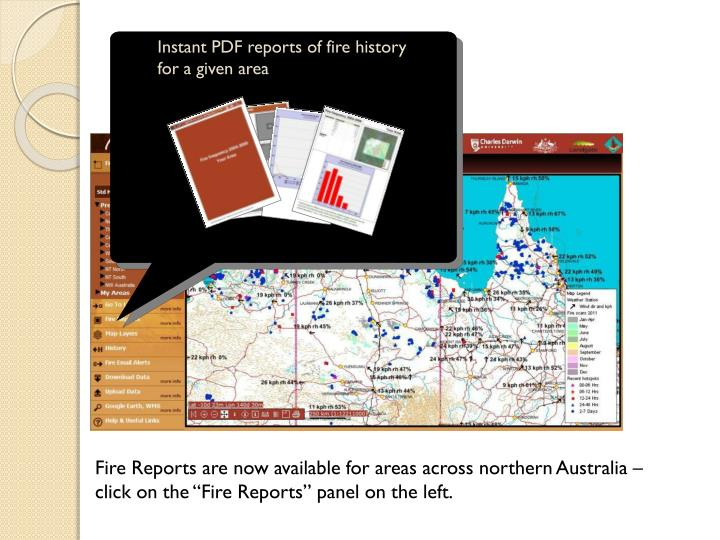 Instant PDF reports of fire history for a given area