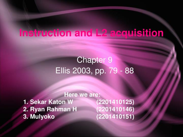 instruction and l2 acquisition n.