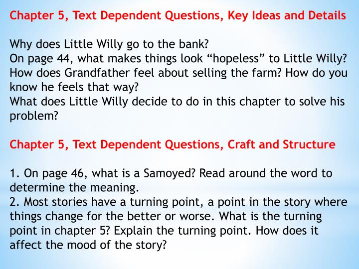 Chapter 5, Text Dependent Questions, Key Ideas and Details