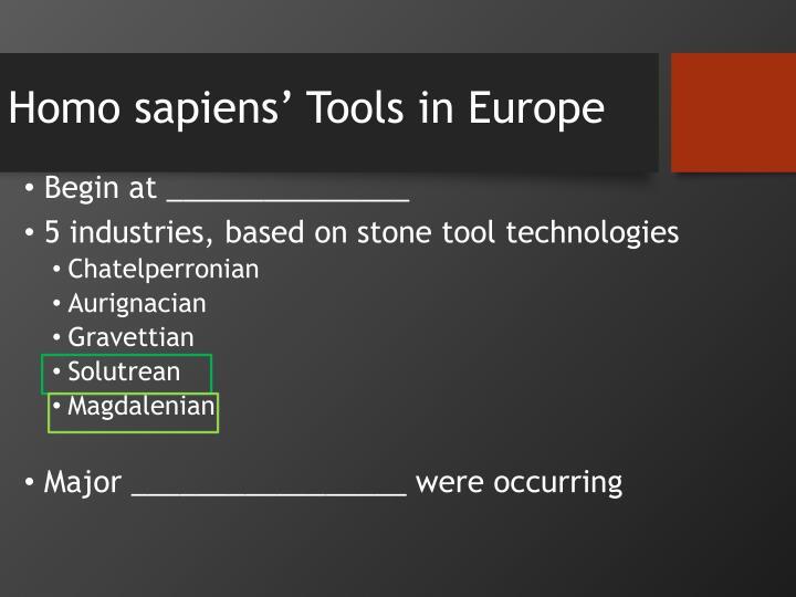 Homo sapiens' Tools in Europe