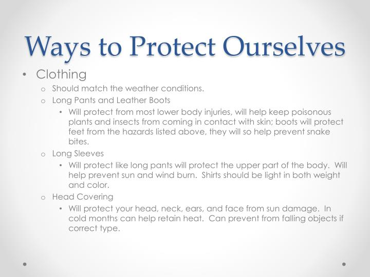 Ways to Protect Ourselves