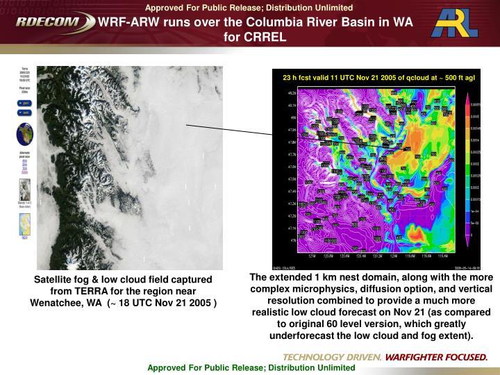 WRF-ARW runs over the Columbia River Basin in WA for CRREL