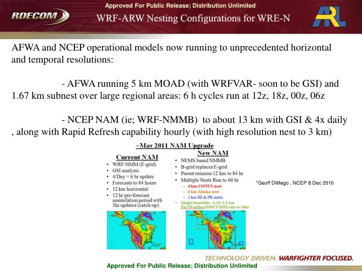WRF-ARW Nesting Configurations for WRE-N