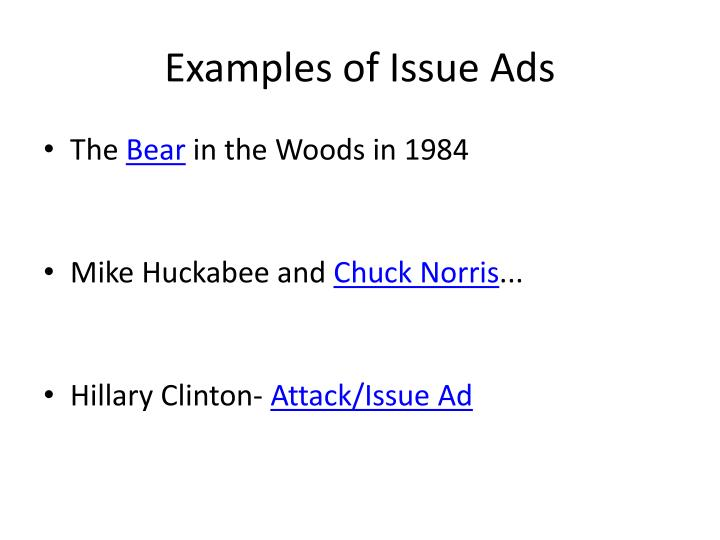Examples of Issue Ads