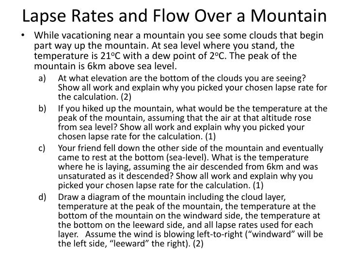 lapse rates and flow over a mountain n.