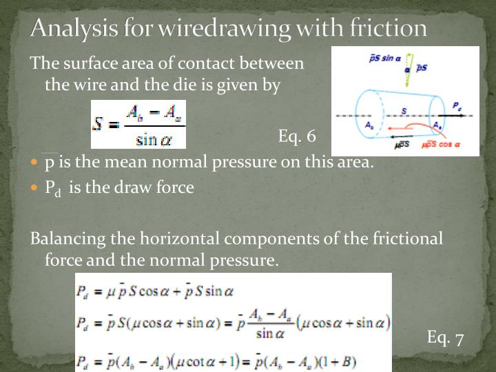 Analysis for wiredrawing with friction
