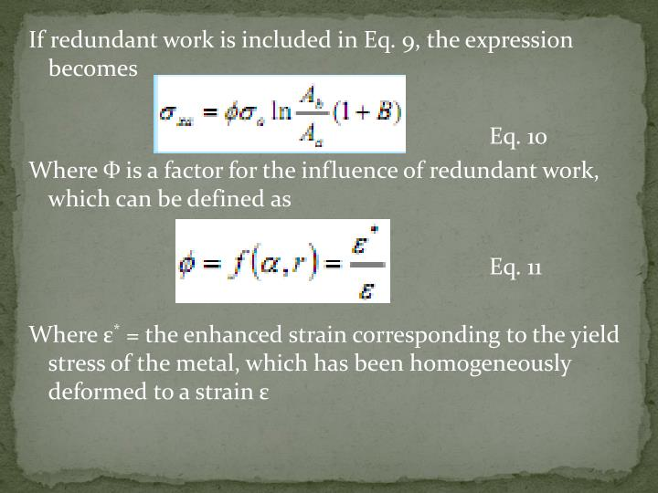 If redundant work is included in Eq. 9, the expression becomes