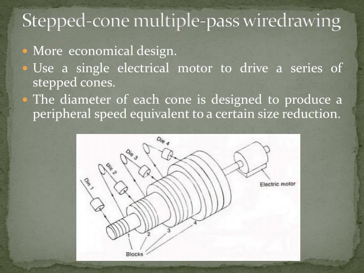 Stepped-cone multiple-pass wiredrawing