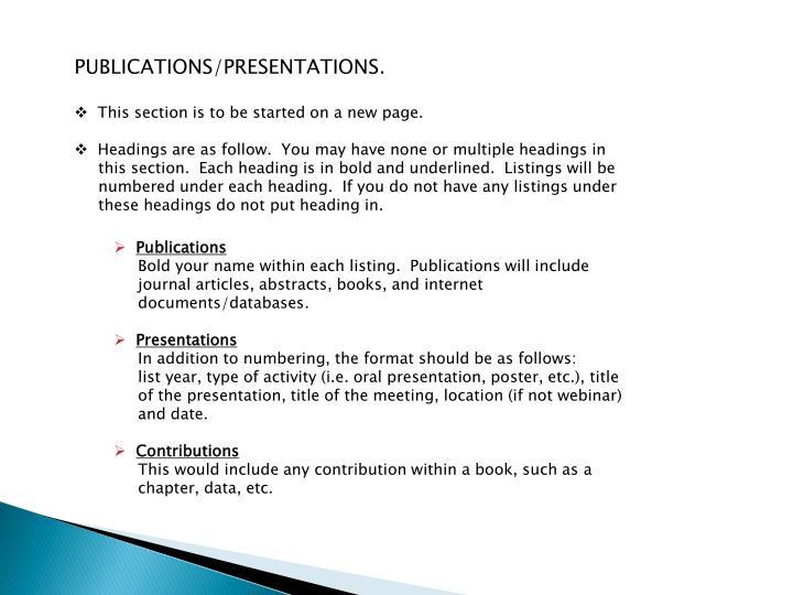 PUBLICATIONS/PRESENTATIONS
