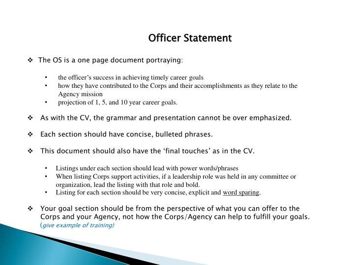 Officer Statement