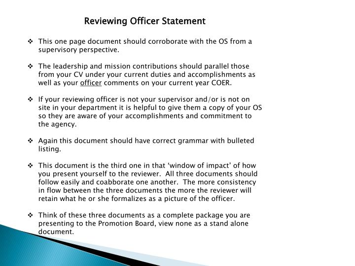 Reviewing Officer Statement