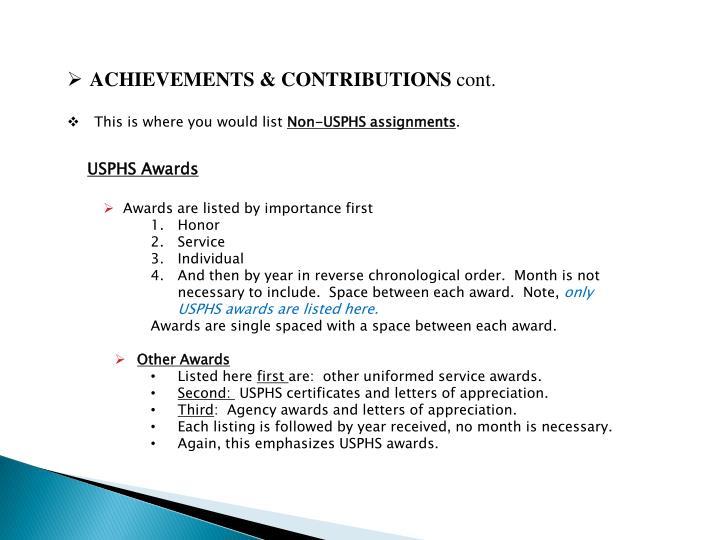 ACHIEVEMENTS & CONTRIBUTIONS
