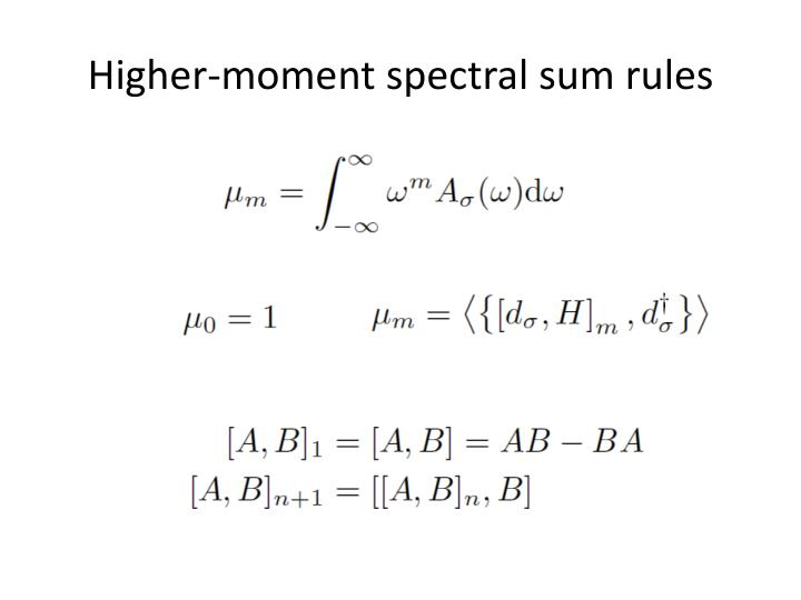 Higher-moment spectral sum rules