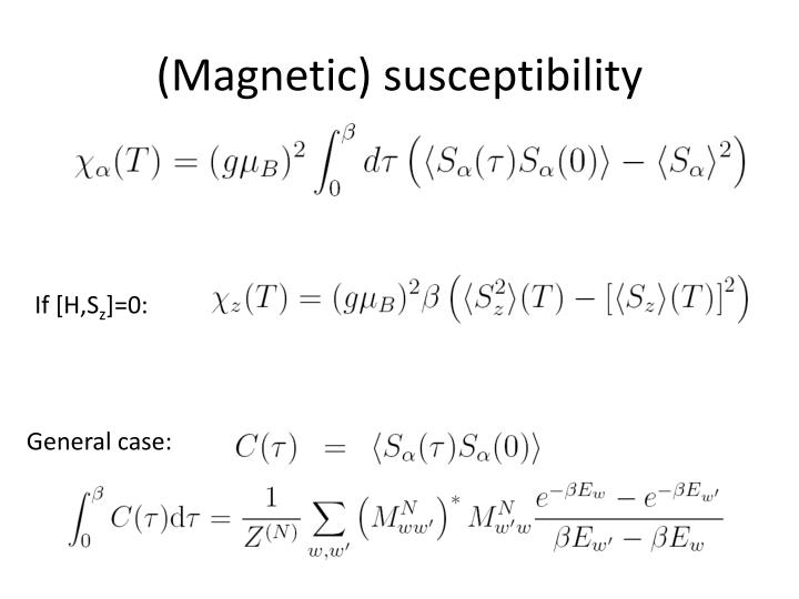 (Magnetic) susceptibility