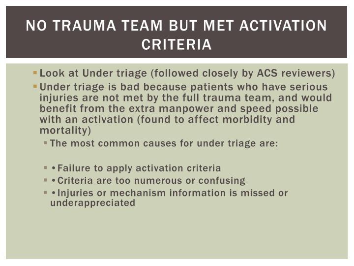 No Trauma Team but met Activation Criteria