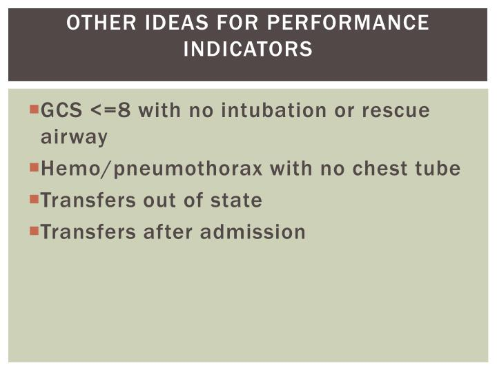 Other ideas for performance Indicators