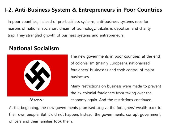 In poor countries, instead of pro-business systems, anti-business systems rose for reasons of national socialism, dream of technology, tribalism,