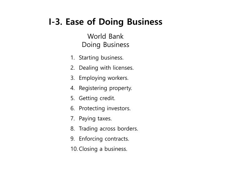 I-3. Ease of Doing Business
